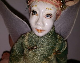 Unique Garden Fairy , one of a kind Fairy holding a wooden bird.