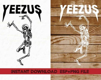 YEEZUS skeleton Dancing clipart ,T shirt, iron on , sticker, Vectors files ,Personal Use