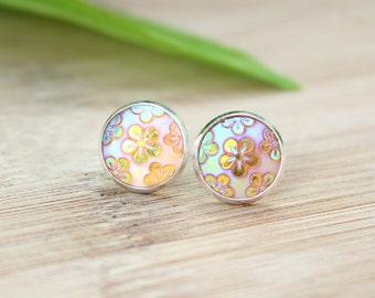 Gold Flower Earrings – Sparkles – 14 mm – Gift – Yellow