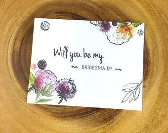 Will You Be My Bridesmaid Card,Weddings, Flowers Blank inside, Black or white envelope,