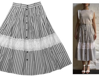 Nautical Mid-length Skirt Cotton Lace Navy White Stripe