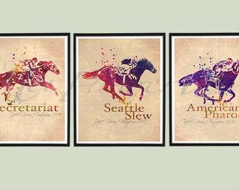 Vintage Triple Crown Champions set of PRINTS, Secretariat, Seattle Slew, American Pharoah PRINTS, Race Horse painting, Thoroughbred poster