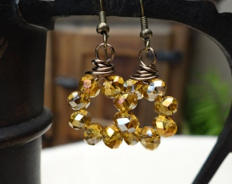 Wire Wrapped Circle Faceted Peach Cobbler Iridescent Crystal Assembled Earrings - ERU154