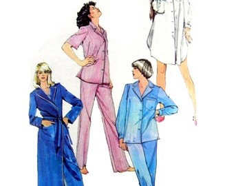 1984 Simplicity 5786 Misses' Classic Tailored Long or Short Sleeved Pajamas, Nightshirt and Robe Sewing Pattern Size 10-12