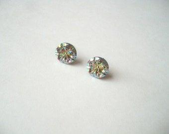 Czech glass stud earrings, iridescent glass studs, Czech flower earrings, Czech button post earrings, 14mm buttons, glass flower studs