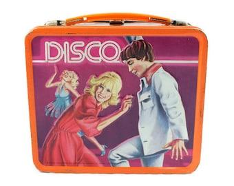 1979 Disco Orange Metal Lunch Box Vintage