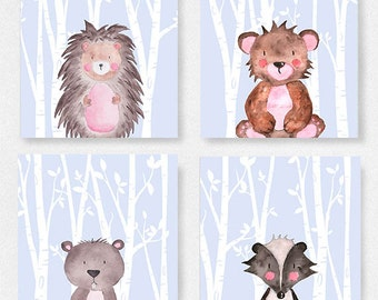 Set of 4 Woodland animal prints, Grey and white nursery, Bear picture, Baby animals nursery, Woodland theme prints, Forest nursery prints