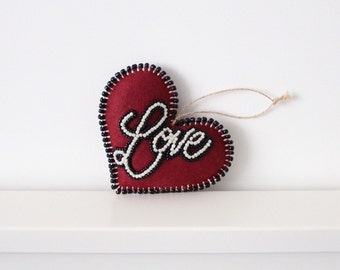 Felt Heart Decor, hand beaded embroidery, Love Heart