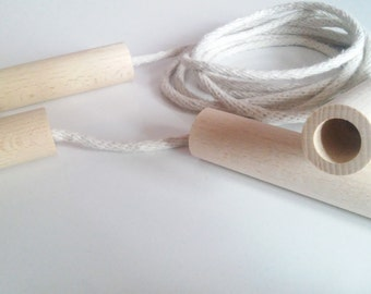 Wooden handles to jumping rope