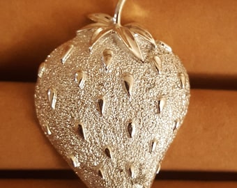 Strawberry Silver Plated Brooch By Sarah Coventry