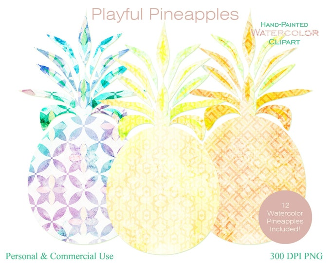 WATERCOLOR PINEAPPLES Clipart Commercial Use Clipart Fun Citrus Gold Watercolor Pineapples Clipart 12 Watercolor Pineapple Planner Clipart