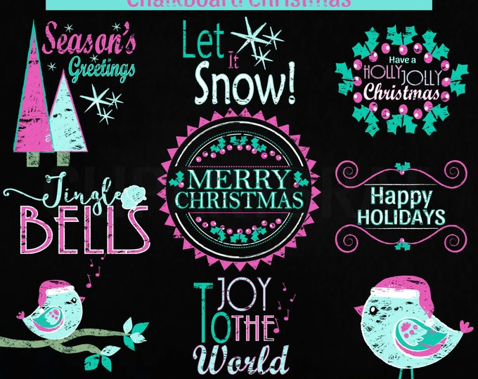 CHRISTMAS CLIP ART Commercial Use Clipart Christmas Chalkboard Word Art Trees Bird Holiday Digital Clip Art Pink Aqua Chalk Board Clipart