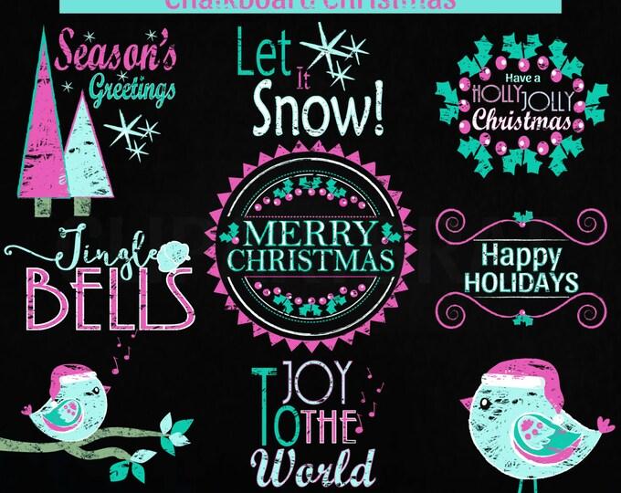 CHRISTMAS CLIP ART Commercial Use Clipart Christmas Chalkboard Word Art Trees Bird Holiday Digital Clip Art Pink Aqua Chalk Board Clipart