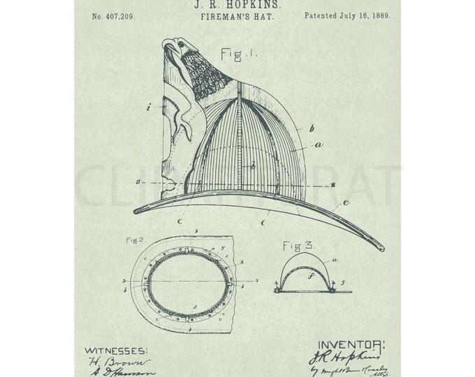 1889 FIREMAN HELMET Printable Art Print Intsant Download Fireman Hat Patent Diagram Digital Art Print Fireman wall Art Printable Poster Art