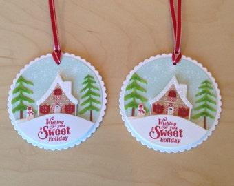 Christmas Tags, Holiday Tags, Gingerbread Tags, Christmas cards, Gingerbread cards - Set of TWO