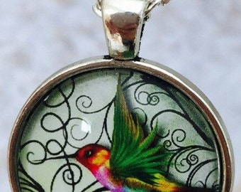 ON SALE Hummingbird : Glass Dome Necklace, Pendant or Keychain Key Ring. Gift Present metal round art photo jewelry by Bohemian Marvels