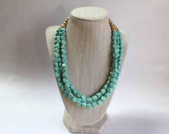 Wood Bead Necklace - Mint Green and Gold Czech Beads