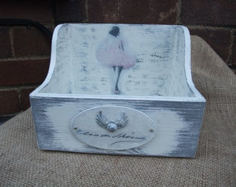 CD holder,shabby chic wooden box,lovely home accessory,home decor