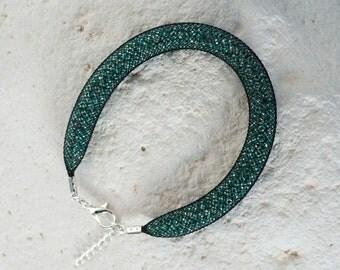 Bracelet mesh Black + metallic turquoise Bluefish