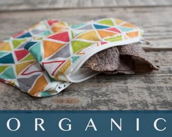 Organic Snack Bag Set - Geometric Print - Ready to Ship