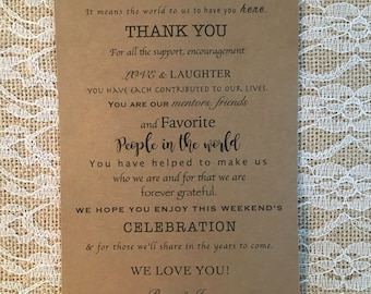 Wedding Welcome Bag Letters