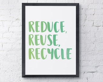 Reduce, Reuse, Recycle Printable