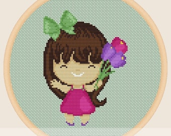 Little girl with flowers - Cross stitch pattern