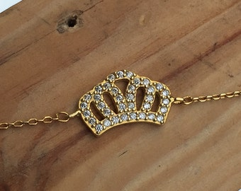 Crown Bracelet Cz 925 Silver Yellow Rose Gold ( 4 colours )