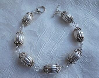 Antique Sterling Silver Large Bali Bead Bracelet