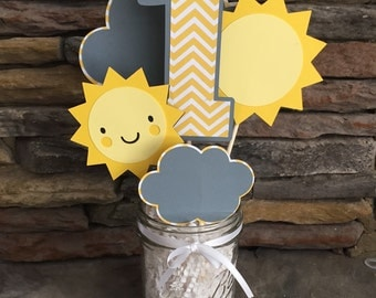 You Are My Sunshine Centerpiece Happy Birthday Sunshine Party Decor Photo Prop Suns Chevron Yellow And Gray Birthday Decorations I am One