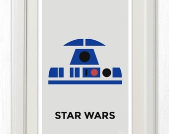 R2D2 Star Wars Minimalist Poster 11x17 Instant PDF Download