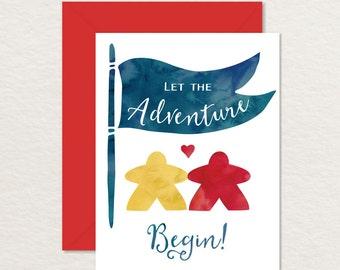 Meeples Printable Wedding Card / Printable Engagement Card / Relationship Card /  Nerdy Printable / Adventure Card / Love Card