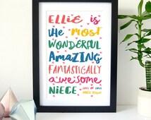 Wall Art Print, Gift for Teenager, Teenager Print, Birthday Gift For Niece, Gift For Niece, Personalised Print, Home Decor, Niece Gift