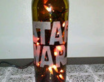 Star Wars Lamp - Hand Etched Wine Bottle Lamp - Fa Lamp - Nightlight - Top Selling Star Wars