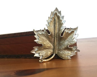 Two tone brooch leaf shaped Sarah Coventry natures choice gift for mom