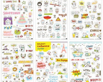 Cochonn Stickers, Kawaii Korean Stickers, Cute Planner Stickers, Kawaii deco sticker, 6 in 1 per pack