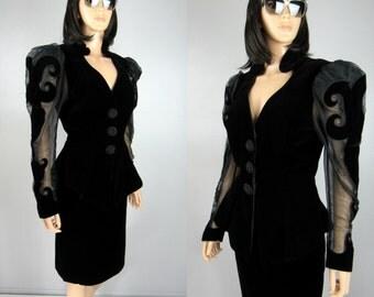 Vintage 80's Karen Okada David Howard 2 Piece Advant Garde Skirt Blouse Velvet