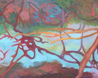 "Original Oi Painting, ""Branchwater"" 48"" x 24"" Abstract Landscape"