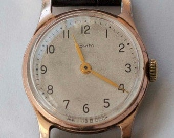 Rare early 1960 vintage  soviet watch ZIM for men USSR with engraved  littering!!!
