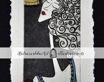 OriginalPrintmaking Etching Coloured Ecoline GoldGilding Woman BlueWhite Bird Cage Key Letter Music Love Grace Coloured