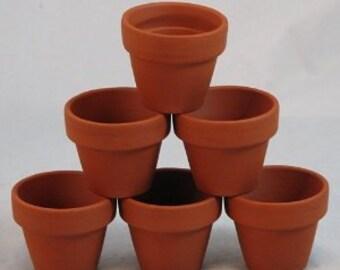 6 x Tiny Terracotta pots 1cm tall.