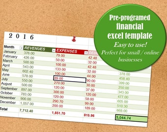 Financial Management Excel Pre-programmed Easy-to-Use Spreadsheet for Small or Online Business