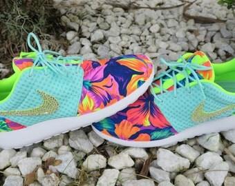 Custom Artisan Teal Volt White Tahitian Floral Print Nike Roshe Breeze