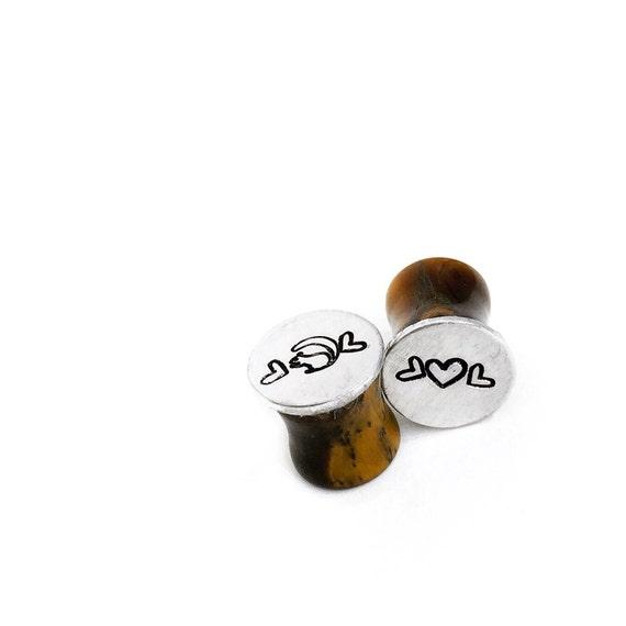 Ear Gauges Custom hand stamped aluminum 00g plugs choose