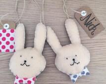 Personalised Bunny, Easter Bunny, Felt bunny decoration, Easter decoration, Felt Easter Ornament, Hanging Bunny Decoration, Bow Tie Bunny