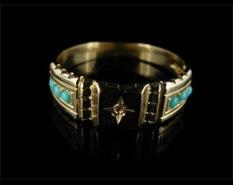 Victorian Turquoise & Diamond 9CT Gold Ring Circa 1900