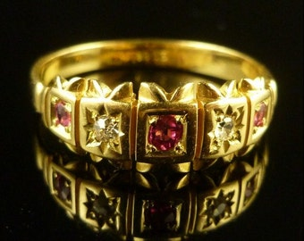 Victorian Ruby and Diamond Gypsy Set 18ct Gold Ring