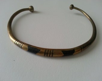 African brass bracelets with decorative motifs in black, lot of 2, vintage, new old stock
