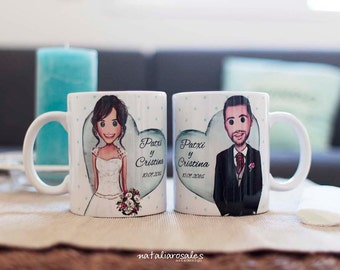 2 personalized couple mugs