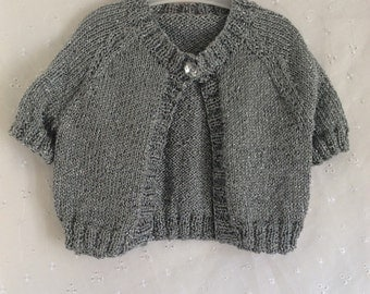 Girls cardigan, girls vest, girls buttonthrough pullover, silver shrug, 18-24m, hand knitted cardigan, bridesmaid cardigan jumper,